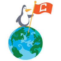 Penguin on globe with C flag