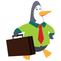 Penguin with briefcase