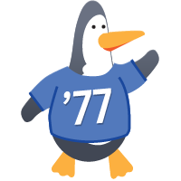 Penguin wearing Class of 77 shirt