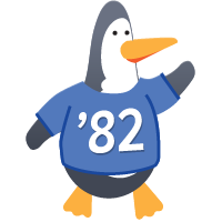 Penguin wearing Class of 82 shirt