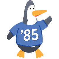 Penguin wearing Class of 85 shirt
