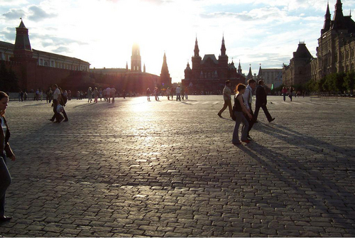 The sun shines onto Red Square.