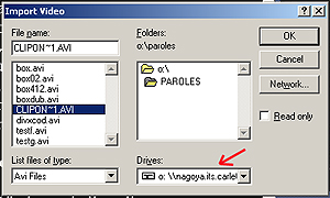 The navigation box in CAN8 for selecting files to import.