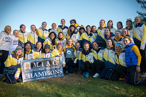 Women's cross country action, 2013 MIAC Champions