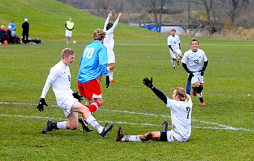 Will Corcoran, Branden McGarrity, men's soccer action