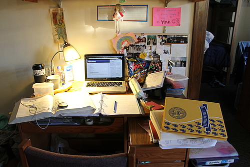 Closeup of messy desk