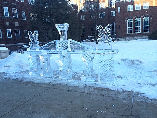 There was an ice sculpture in front of burton last week