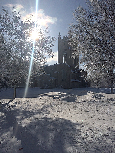 The campus was blanketed in wonderful snow this morning!
