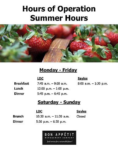 Summer Hours of Operation