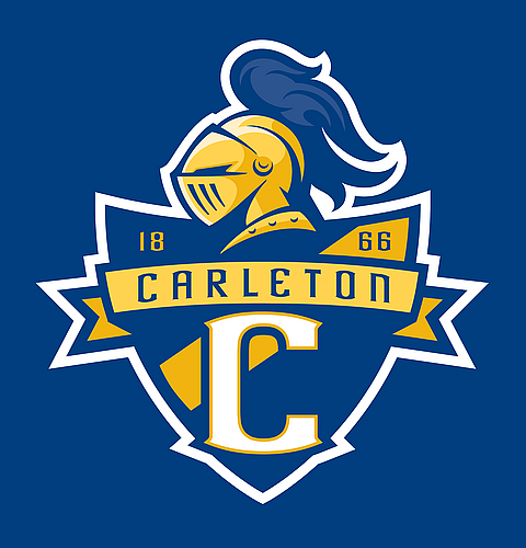 Carleton Knights logo with shield (on blue)