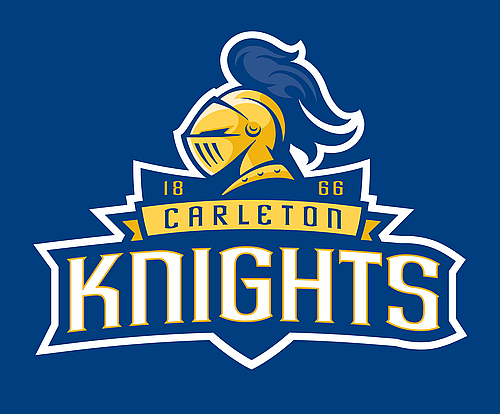 Carleton Knights logo with wordmark (on blue)
