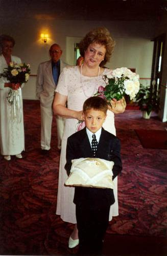and Timmy at my mom's wedding to Art Nyberg (they're in the background ...