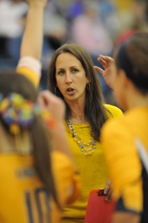 volleyball: heidi coaching action shot