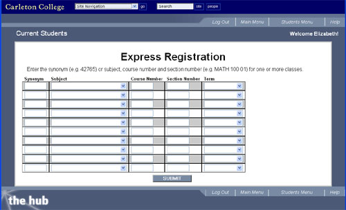 Express Registration screen on The Hub