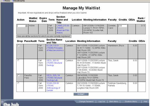Manage My Waitlist screen on The Hub