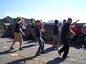 Students doing Tai Chi on the Great Wall