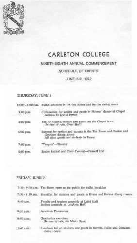 Graduation Program  Class Of   Carleton College