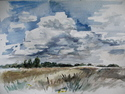 Watercolor of field and sky in the arboretum by Carl Nelson '07