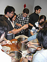 Students making jiaozi.