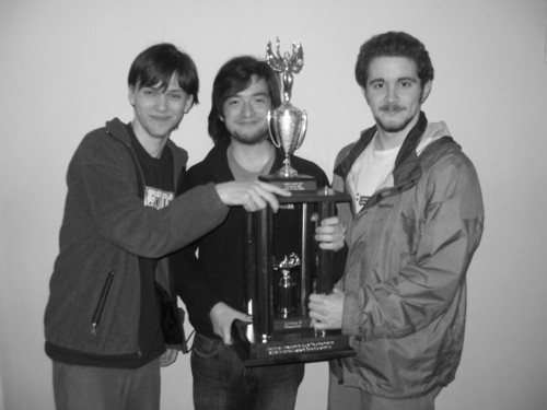 Carleton's novice Quizbowl team (Andreas Stoehr '11, Tom Sullivan '11, Austin Bell '11 pictured here) reached the championship final with a 12-1 record, and ended the competion with a victory of 310-70.