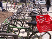 Carleton's Green Bikes parked outside of Sayles Hill