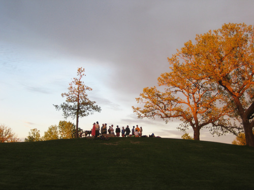 Students on Hill of Three Oaks