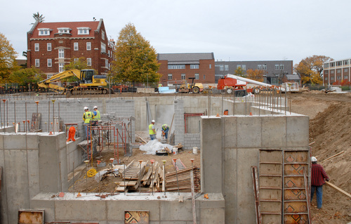 Construction continues on Carleton's new residence hall, which has not been affected by the financial crisis. It was announced in an all-campus e-mail on Tuesday that the Arts Union will not be completed by the Fall of 2011, as was originally planned.