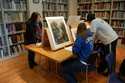 Students at MIA's special collections room