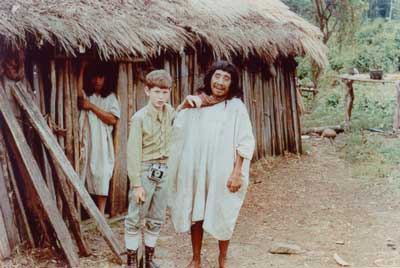 Jay Levi as a child, pictured with a Lacandon man