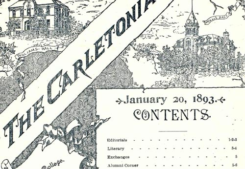 The Carletonian contents page, Jan. 20, 1893