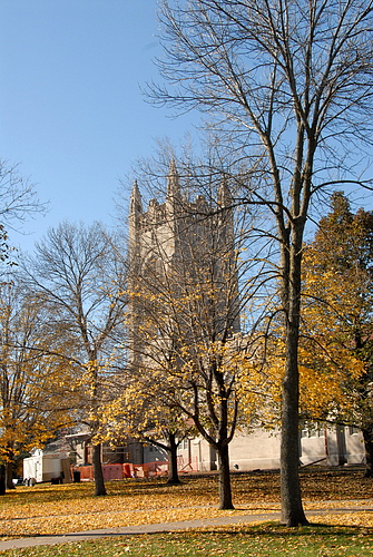 Skinner Memorial Chapel through fall leaves