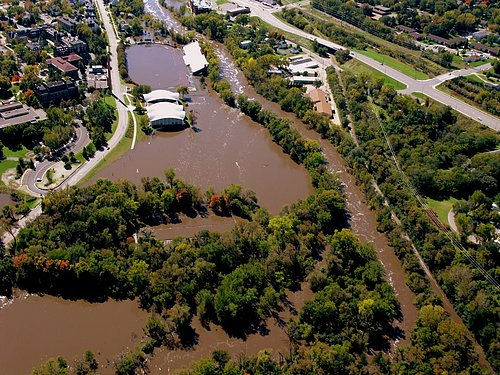 Aerial photo of September 2010 Cannon River flooding