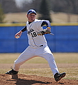 Jacob Anderson '11 pitches during the Knights' 6-3 win in the opener of Saturday's doubleheader with defending champion St. Thomas. Anderson went the distance for his collegiate complete game. Despite a 5-11 overall record, the Knights are 2-2 i the MIAC.