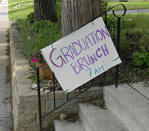 Laurie Hougen-Eitzman made this great sign to announce the brunch on graduation day - Thanks Laurie!