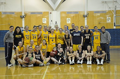 This is a photo of the Carleton basketball team, provided by Kayla Kramer '12 for her blog post.