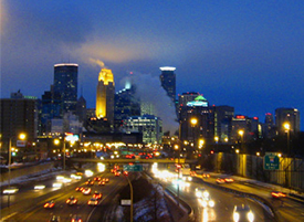 Twin Cities skyline at night