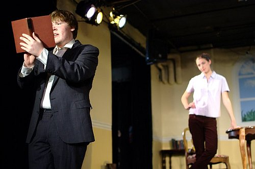 Connor Lane '13 as Bernard Nightingale and Lauren Alexander '13 as Hannah Jarvis