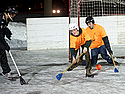Broomball action, St Olaf Rec Staff vs. Carleton Rec Staff