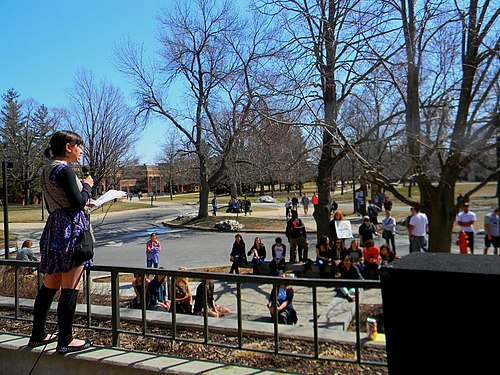 Francesa Garcia '13 reads a monologue that she wrote in during Friday's rally