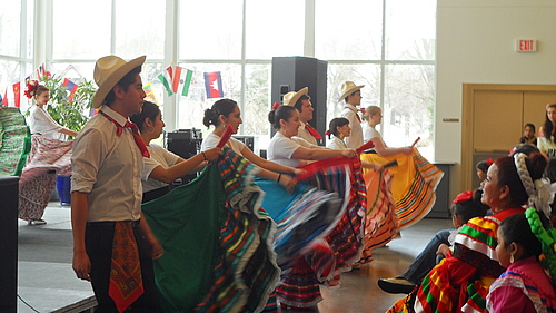 Carleton students dance Folklórico, a traditional folk dance from Mexico.