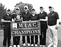 The women's golf team poses following their victory in the MIAC championships earlier this year.