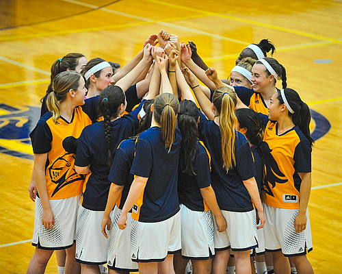 Women's Basketball Team, women's basketball action, huddle, 2015-12-15