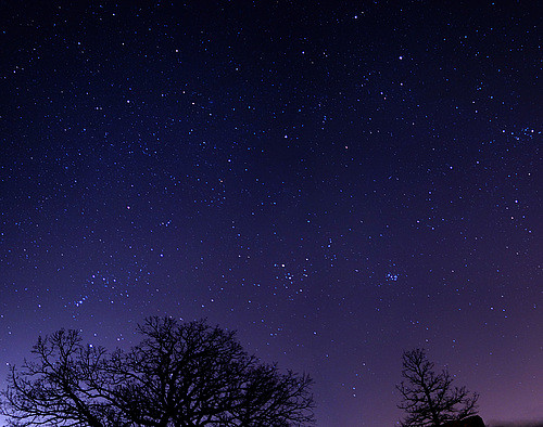 Orion and Pleiades over Hill of Three Oaks