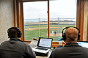 Two Carleton sports broadcasters at the Knights baseball game vs. St. Johns. Photo by Geoffrey Mo.