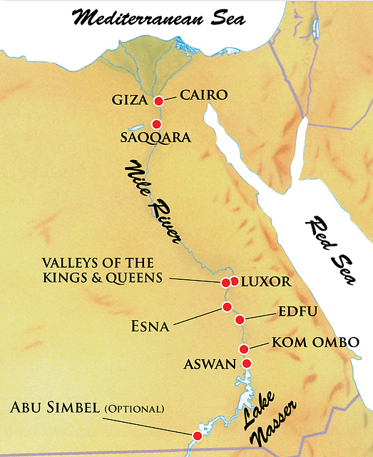 Map For Ancient Egypt The River Nile Land And Riverboat Trip