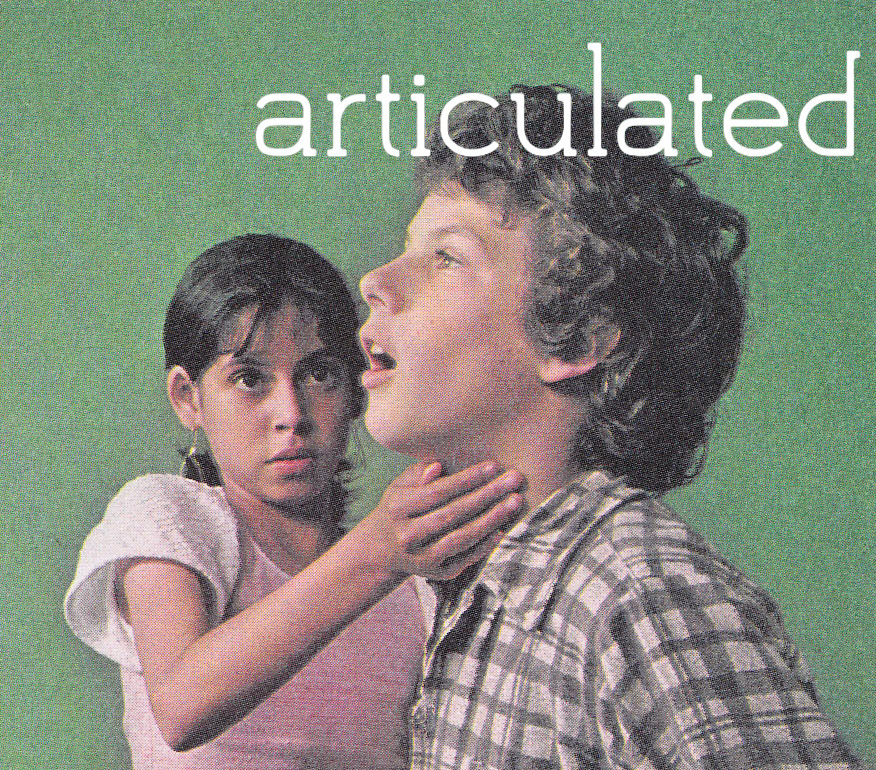 photo of two children, with the word articulated superimposed on the image