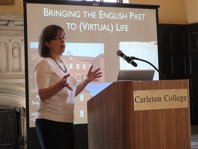 History Professor Susannah Ottaway presents on her digital project.