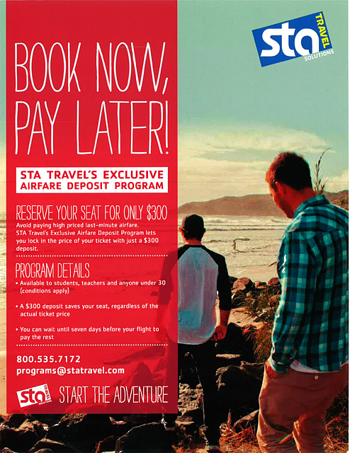 STA Travel- Book Now, Pay Later