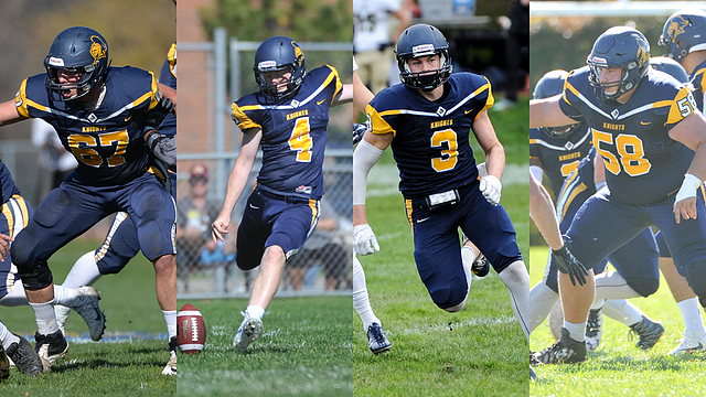 Football All-MIAC honorable mention image, Hunter Brown, Brandt Davis, Mark Leedy, Tyler Rolland, 2016-11-12,