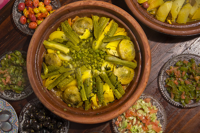 Vegetable tajine with small salads.